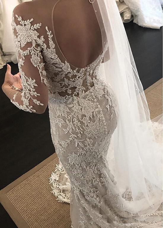 Exquisite Lace Jewel Neckline Mermaid Wedding Dresses With Beaded Long Sleeves Lace Appliques Plus Size Bridal Gowns vestido de