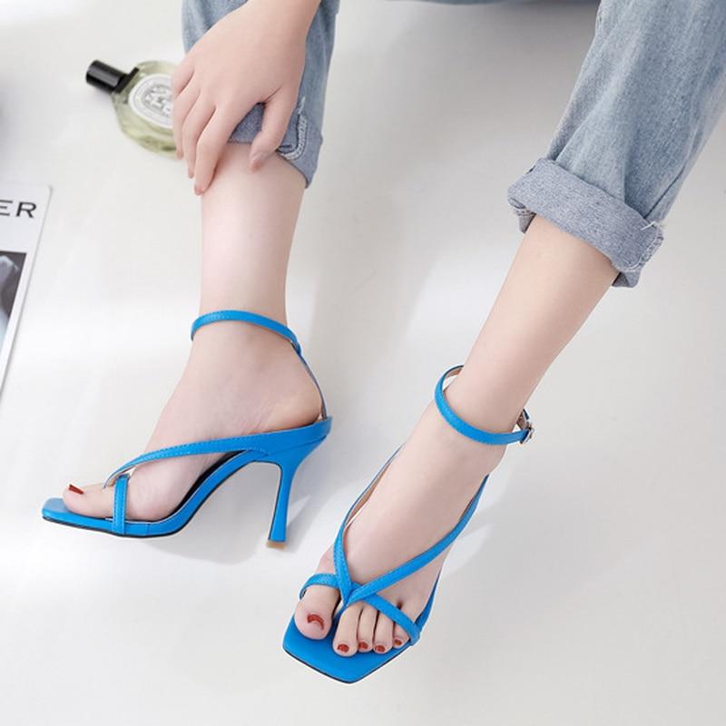 HOKSVZY 2020 Summer Fashion Square Head Clip Toe Fine Heel Women's Shoes High Heel Hollow Word Buckle Women's Sandals CWF