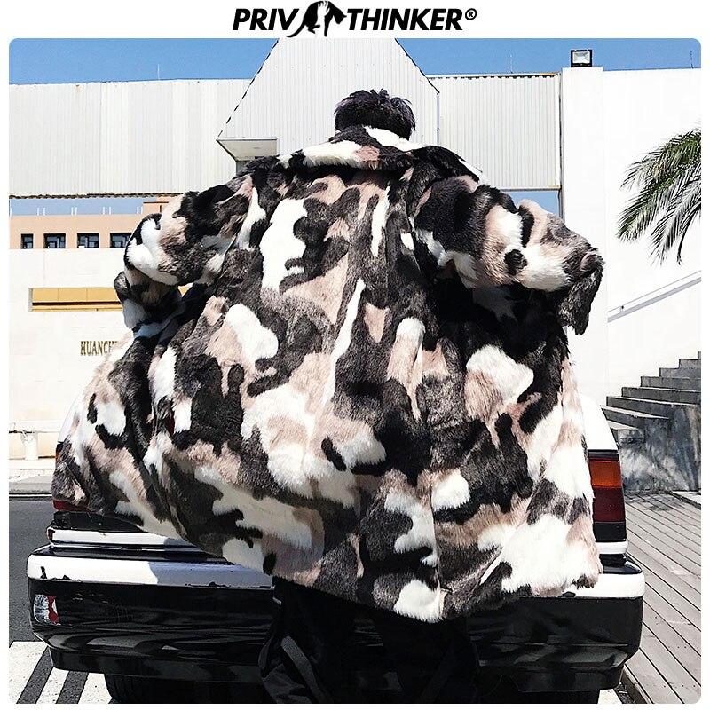 Privathinker, мужской модный Камуфляжный Длинный плащ из искусственного меха, мужская куртка в стиле хип хоп, утолщенная теплая парка, Мужская зим... - 2