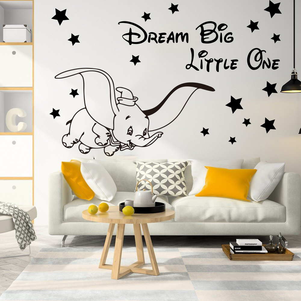 Cartoon Dream Big Little One Fly Dumbo Elephant Wall Decal Kids Room Dumbo Animal Elephant Inspirational Quote Wall Sticker  (3)