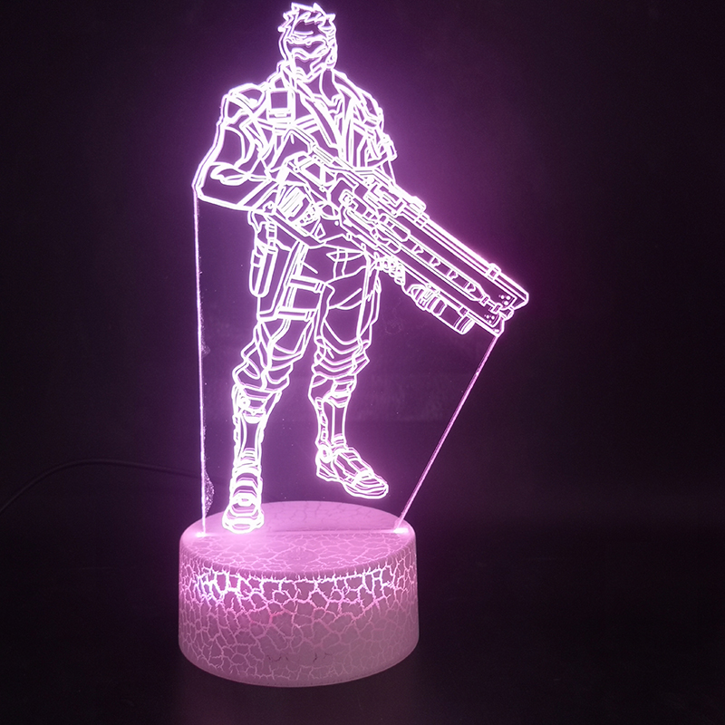 3D Lamp Game Overwatch Hero Soldie Best Present For Children For Living Room Decoration Usb Atmosphere Led Night Light Lamp