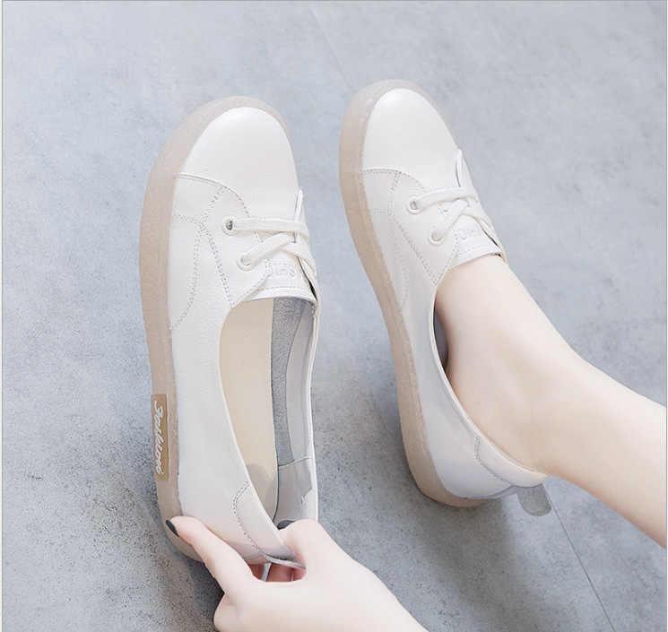 """2020 Hàng Mới Về Phụ Nữ Cho Nữ Đế Bằng Người Phụ Nữ Nữ Slip On Da Mộc Mạch Trà Giày Zapatos De Mujer """"3h51"""