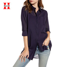 Harrill Lightweight Long Shirt Women Tops Office Ladies Shirts Single-Breasted Long Sleeve Turn-down Collar Shirt Tops Women 2019 hot sale spring women shirts tops long sleeve bow collar solid ladies chiffon blouse tops ol office style chemise femme