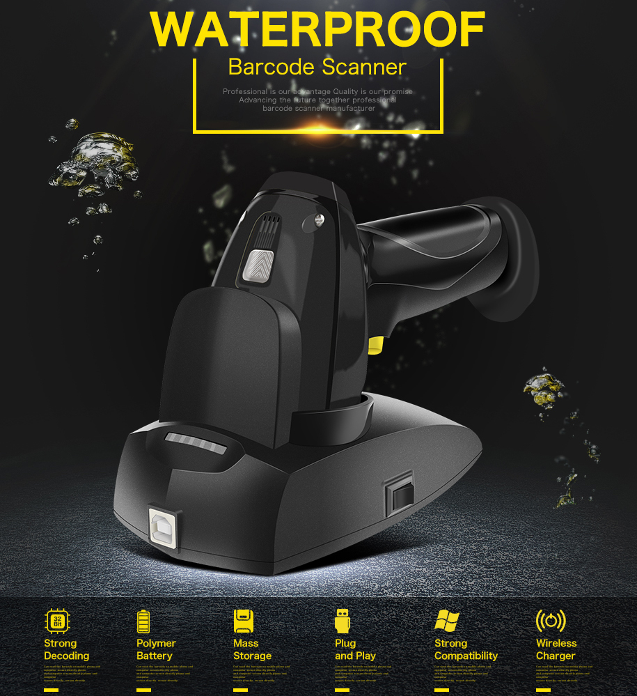 NETUM Waterproof I6 Wireless CCD Barcode Scanner AND I5 Wired 2D Barcode Reader with Wireless Charging for Mobile Screen Payment