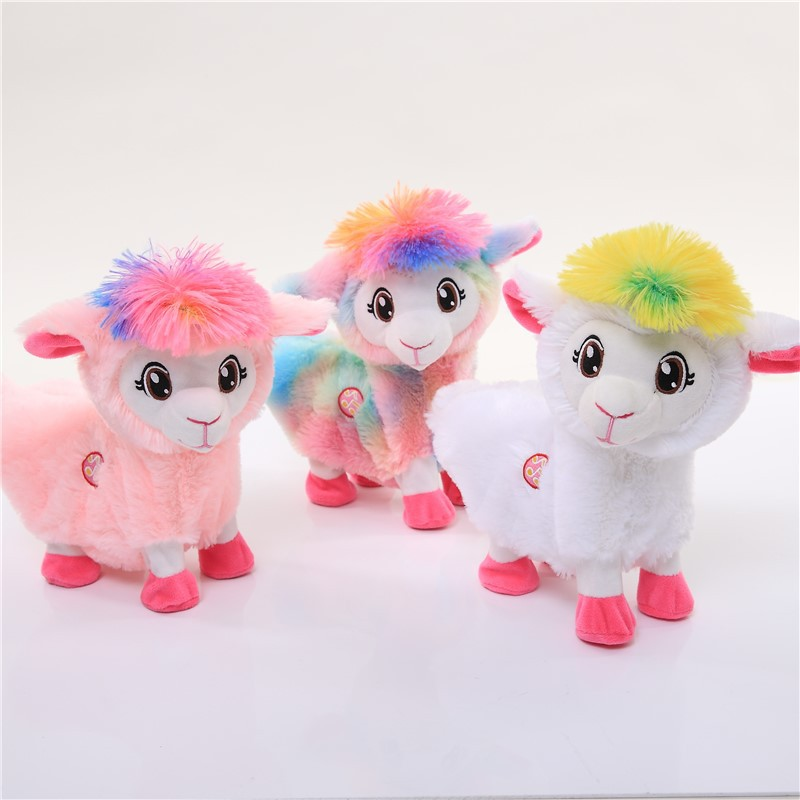 30CM Music Vocal Short Plush Toy America Story Twisted Ass Alpaca Shake Hip Electric Alpaca Plush Animal Toys