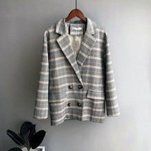 Mooirue Fall Women Plaid Blazer Jacket Coat Doule Breasted Padded Cotton  Korean Straight Cardigan Female Outwear