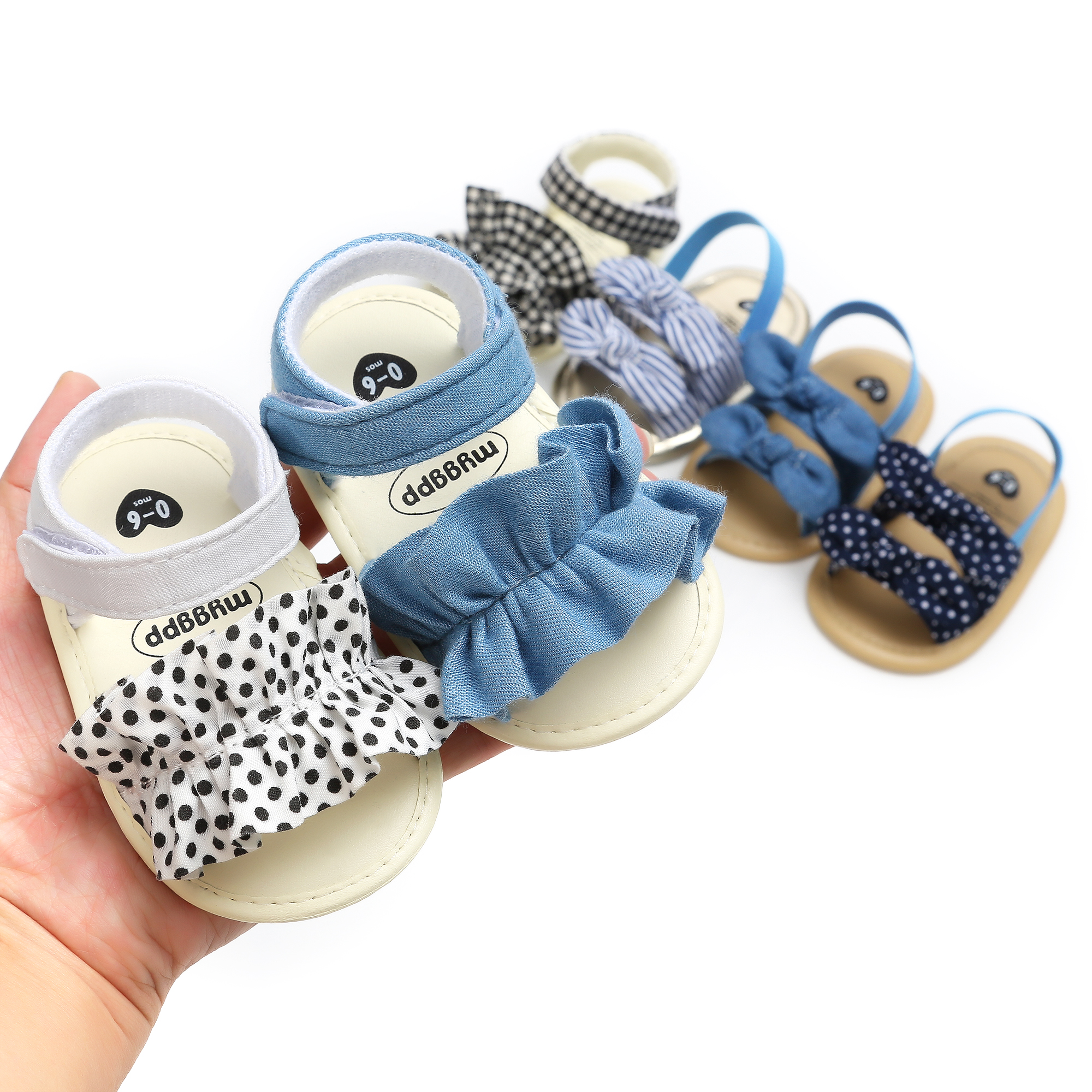 Mini Bow Baby Shoes Summer Girls Sandals For Girls Shoes Fashion Newborn Bow Lace Dot Girls Sandals Beach Plaid Princess Shoes