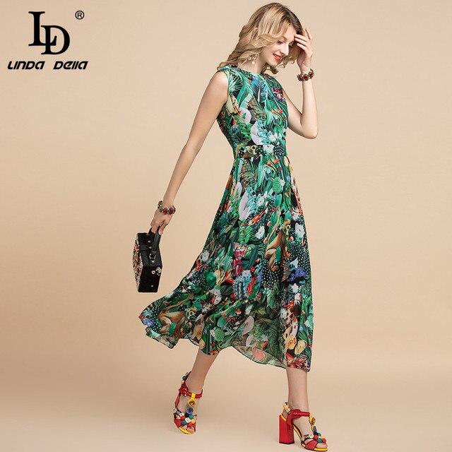 LD LINDA DELLA Elegant Summer Dress Women's Sleeveless High waist Vintage Animal Jungle Floral Print Elegant Midi Holiday Dress 5