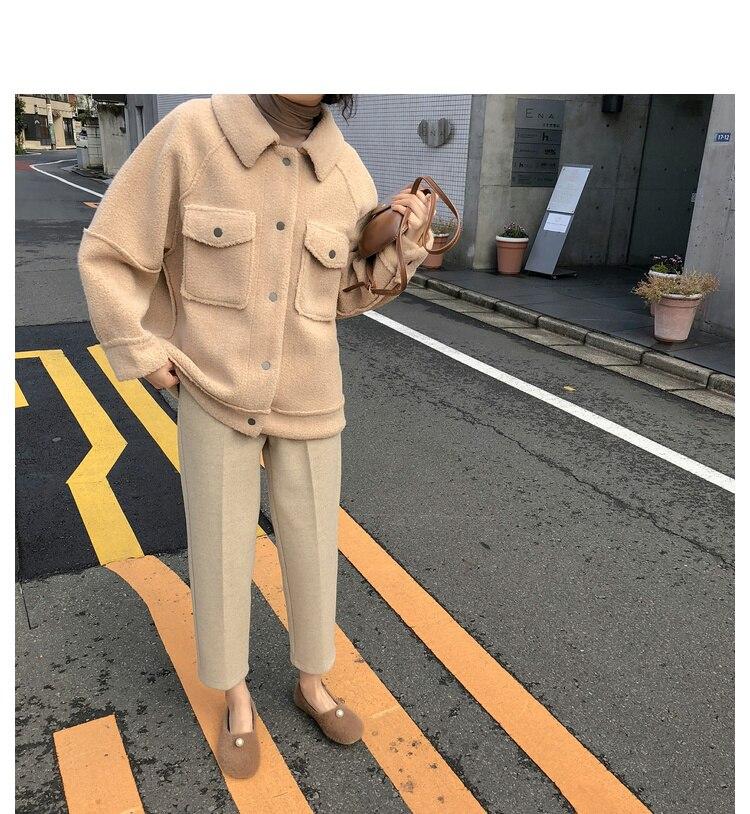 2020 early spring anti sheepskin coat female new loose plush coat shirt jacket