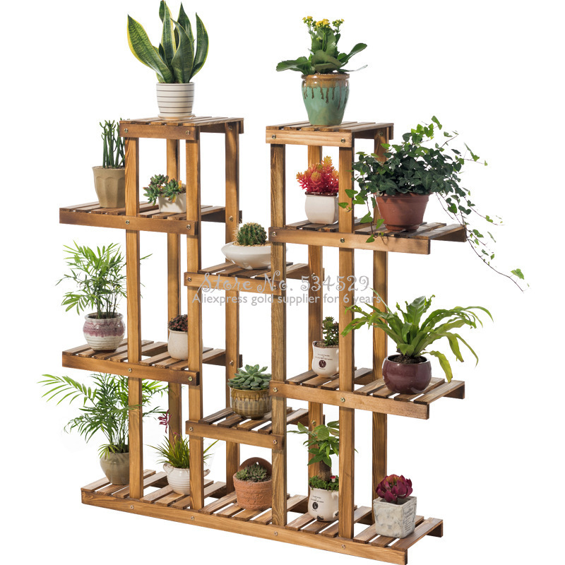 30%    Wood Plant Stand Flowers Holder Display Rack Multi-Tier Wooden Organizer For Indoor/Outdoor Stable &Durable Shelf Shelves