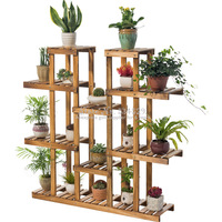 30% Wood Plant Stand Flowers Holder Display Rack Multi Tier Wooden Organizer For Indoor/Outdoor Stable &Durable Shelf Shelves