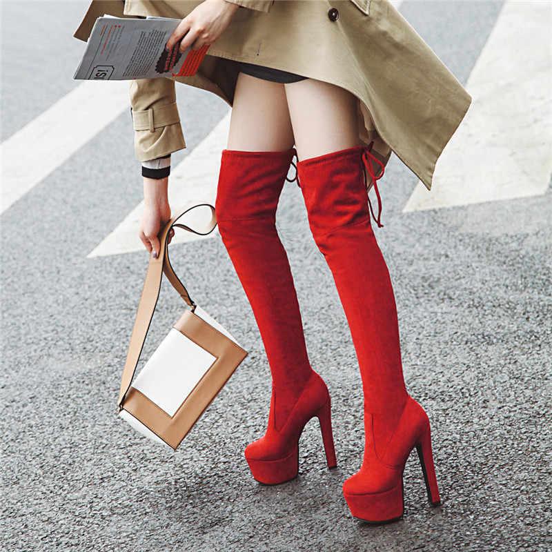 Asumer 2020 Mới Trên Đầu Gối Giày Nữ Mũi Tròn Đùi Cao Cấp Co Giãn Giày Gợi Cảm Cao Cấp Gót Nền Tảng Nữ giày Size Lớn