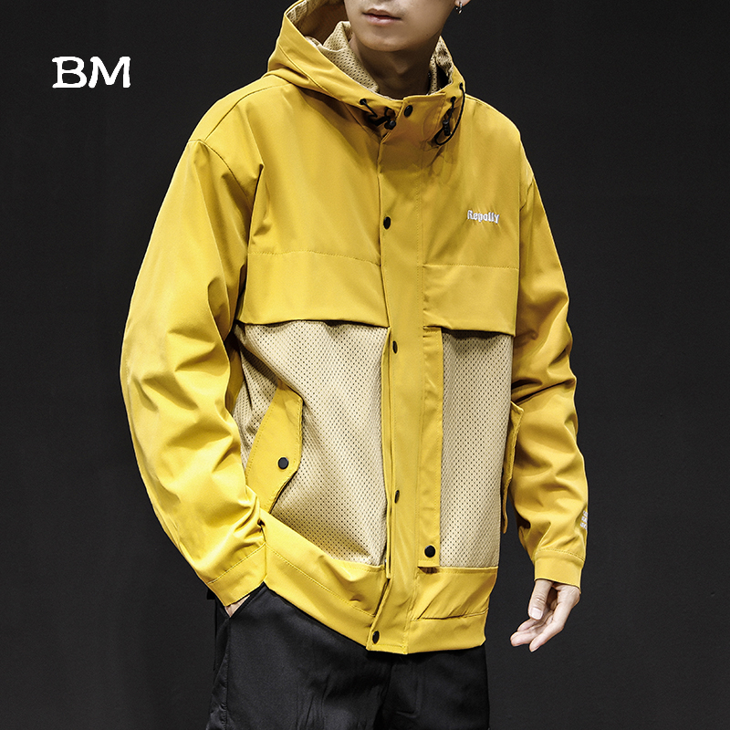 Fashions Splice Jacket Men Streetwear Hoodie Hip Hop Coat Kpop Korean Style Windbreaker Harajuku Clothes 2019 College Jackets