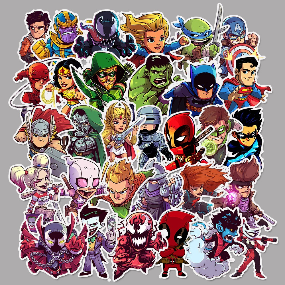 <font><b>50</b></font> Pcs Super Hero Cartoon <font><b>Stickers</b></font> for Laptop Bicycle Luggage Motorcycle Phone PVC Waterproof JDM Graffiti Marvele Decal <font><b>Sticker</b></font> image
