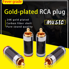 YYAUDIO RCA Plug Connector Male Carbon Fiber Gold Plated Plug HiFi Audio Jack Speaker RCA Socket Adapter Solder Wire RCA Termina