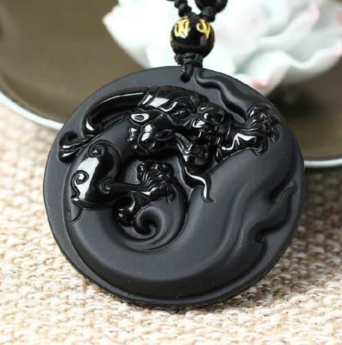 Natural Obsidian Stone Pendant Dragon Mascot Wealth Protection Amulet Round Pendant
