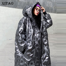 Women Parkas XITAO Pocket Hooded-Collar Plus-Size Winter Fashion New Small DMY1754 Goddess-Fan