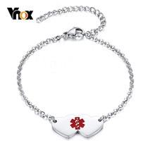 Vnox Free z niestandardowym grawerowaniem bransoletki medyczne ID dla kobiet nigdy nie znikną Tone biżuteria ze stali nierdzewnej długość regulowana