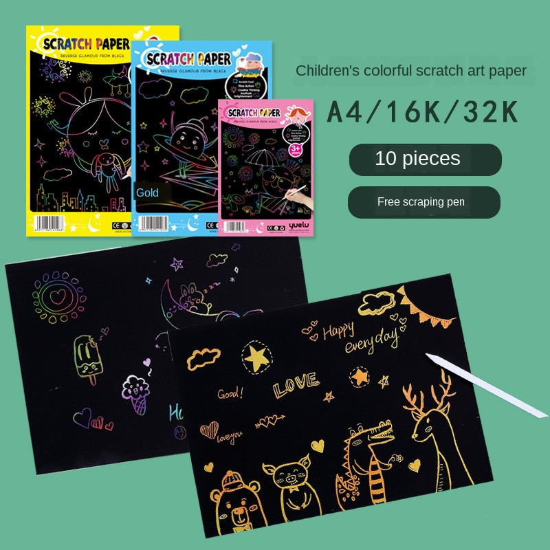 10PC DIY Magic Scratch Painting Papers with 1 Scraping Paintings Pen Kids Creative Drawing Toys