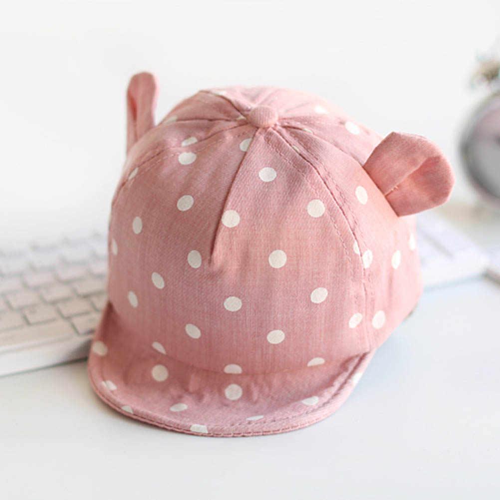 Crianças chapéus de sol boné da criança bonito dot bebê boné menina meninos chapéu de sol com orelha para a primavera newborn fotografia adereços boné de beisebol #40