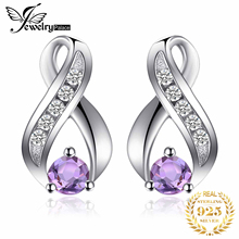 JewelryPalace Fashion 0.3ct Round Natural Amethyst Stud Earrings For Women Solid 925 Sterling Silver Brand Gemstone Fine Jewelry jewelrypalace natural amethyst irish claddagh ring solid 925 sterling silver love heart fine jewelry february birthstone on sale