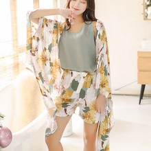 4 Pieces/Set Women Pajamas Spring Autumn Soft Sleepwear Flower Print Short Long Pants Home Clothes Fashion Nightclothes 44-70KG