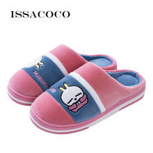 ISSACOCO Women Winter Slippers Cartoon Rabbit Couple Indoor Warm Flat Shoes Home Ladies Woman
