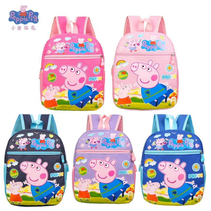 Nuevo Peppa Pig George Pink Pig Plush Toy Bag Wallet Boy Girl Kawaii Kindergarten Bag Mochila Wallet Phone Bag Child Gift