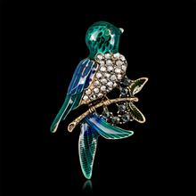 Rhinestone Pearl Bird Branch Brooch Crystal Ancient Golden Pins and Brooches For Women Banquet Clothes Jewelry AL239(China)