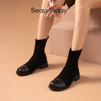 BeauToday Ankle Boots Women Stretch Fabric Shoes Calfskin Round Toe Slip-on Ladies Autumn Winter Sock Boots Handmade 02028 beautoday fashion ankle boots women calfskin leather round toe front zipper closure autumn winter lady shoes handmade 03808