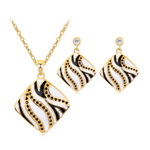 Trendy Necklace Earrings Jewelry Set Elegant Wedding Dress Accessories Women Black and White Enamel Zircon Jewelry Set Gift(China)
