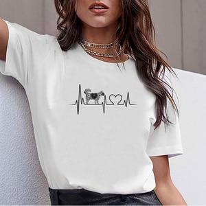 Топы, футболка для женщин husky heartbeat tie dye Kawaii с надписями, Хлопковая женская футболка