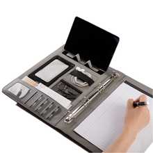 A4 office business manager padfolio zipper briefcase bag document file holder high quality leather organizer portfolio with lock