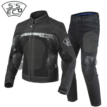 SSPEC Brand New Denim Motorcycle Jacket Motocross Suits Jacket Pants Moto Jacket Protective Gear Armor Men Motorcycle Clothing