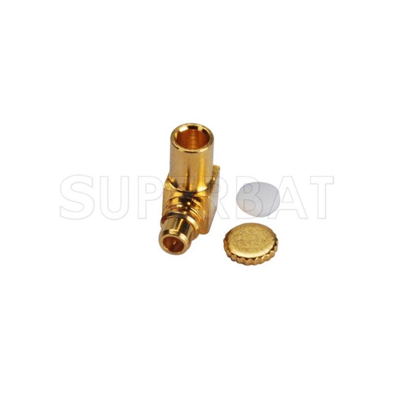 Superbat MMCX male Plug Right Angle Solder for Semi Rigid 0.086