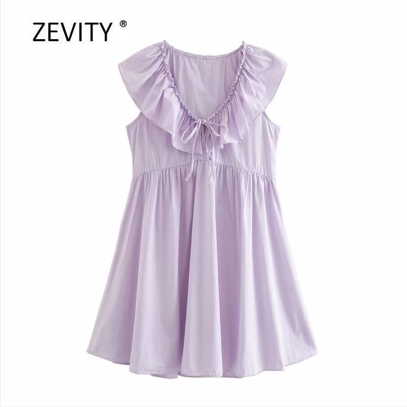 New Women sweet v neck bow cascading ruffle solid mini dress female sleeveless casual poplin vestido chic pleats Dresses DS4134
