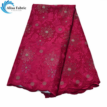 Alisa Hot Selling 100% Cotton Lace Fabrics African Lace Fabrics 5 Yards/pcs Latest Swiss Voile Lace Fabrics For Make Garment