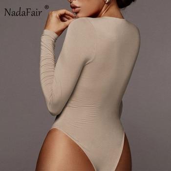 Nadafair Winter White Bodysuit For Women Long Sleeve Bodysuit Women Bodycon Black Bodysuits One-Piece Body Female 2020 Romper 2