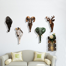 New Vintage Resin Wall Coat Rack Wall Hook Home Wall Decoration Stereo Animal Rack