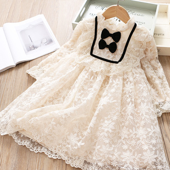 Kids Dress For Girls Spring Autumn Super Fairy Princess Embroidered Net Yarn Bow Baby ChildrenS Clothing