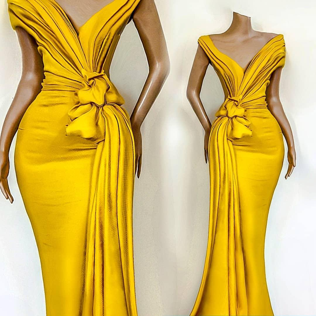 2020 African Yellow Evening Dresses Pleats Knoted Runway Mermaid Prom Gowns Off The Shoulder Formal Party Dress Celebrity Gowns