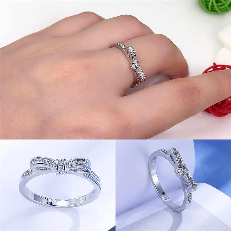 Borboleta moda anéis de jóias anéis de casamento clara cor de prata europeu feminino anéis cintilante arco nó anel