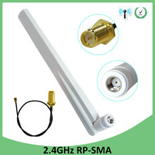 2.4 ghz 8dbi wifi antena RP-SMA macho 2.4 ghz antena 2.4g branco antena roteador + pci u. fl ipx para sma macho trança cabo