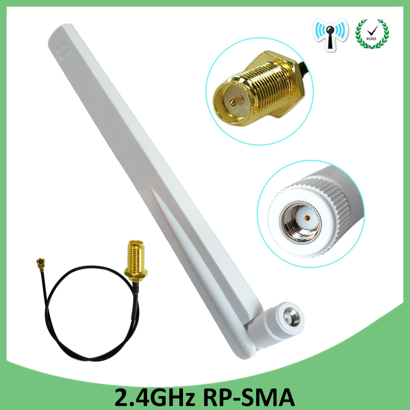 2.4GHz 8dBi Antenna WiFi RP-SMA Male 2.4 Ghz Antenne 2.4G White Aerial Antena Router + PCI U.FL IPX To SMA Male Pigtail Cable