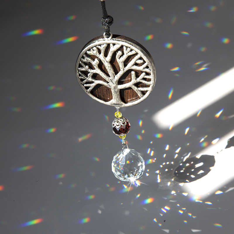H & D Pohon Kehidupan Suncatcher Buatan Tangan Woodgrain Cendana Ornamen dengan Bola Kristal Prisma Rainbow Pembuat Gantung untuk Rumah dekorasi