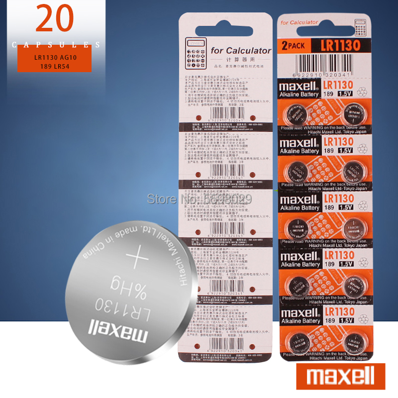 20PCS/lot 100% Original for Maxell <font><b>1.5V</b></font> <font><b>AG10</b></font> LR1130 Alkaline Button <font><b>Battery</b></font> Cell 389 LR54 SR54 SR1130W 189 LR1130 image