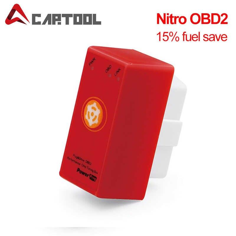Pełny Chip oszczędność 15% paliwa ECOOBD2 NitroOBD2 skrzynka do tuningu elektronicznego ECO OBD2 Nitro OBD2 na olej napędowy i benzyna silnik z przycisk reset