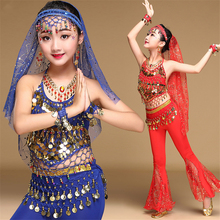 Girls Indian Belly Dance Costumes Wrap Bell-bottoms Sequin P