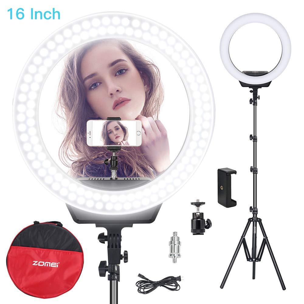 Zomei 16 led led led anel luz de iluminação fotográfica câmera lâmpada luz com suporte para maquiagem vídeo luz tiro youtube estúdio