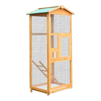 PawHut Bird Cage Large Parrot for Wooden Garden 68 × 63 × 165 cm